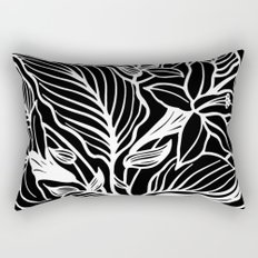 Black White Floral Rectangular Pillow