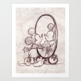 Mouse in the Mirror Art Print