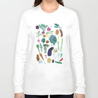 vegetables Long Sleeve T-shirts featuring Vegetables by The Printed Peanut