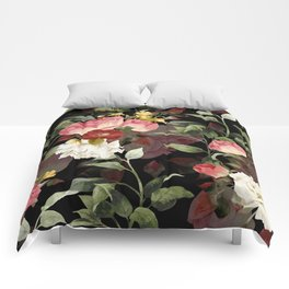 Floral Flower Pattern Watercolor White Pink Flowers Black Background Comforters