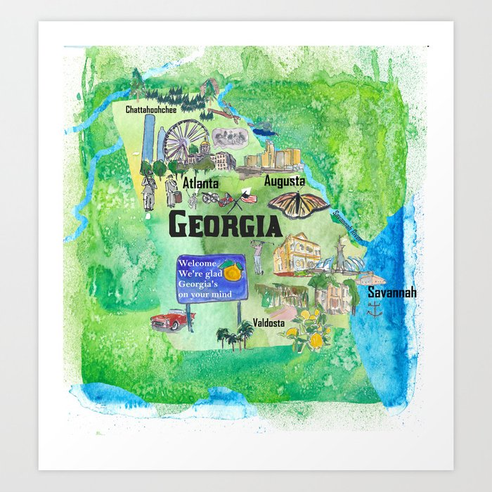 USA Georgia State Travel Poster Map with Tourist Highlights Art Print by  artshop77