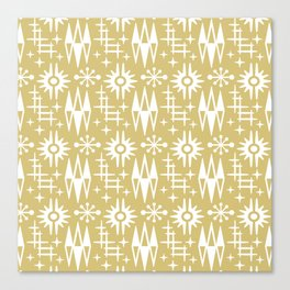 Mid Century Modern Atomic Space Age Pattern Gold 2 Canvas Print