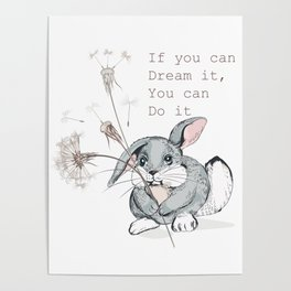 Cute vector hand drawn rabbit holding dandelion, dreaming concept  Poster