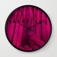 leather Wall Clocks featuring Leather pattern by Pepita Selles