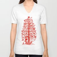 blankets V-neck T-shirts featuring CHRISTMAS TREE red ITINERANT by Chicca Besso