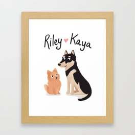 "Custom Dog Artwork, ""Riley and Kaya"" Framed Art Print"