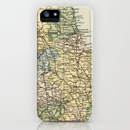 North England and Wales Vintage Map iPhone Case