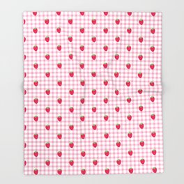 Strawberry Picnic Pattern (pink) Throw Blanket