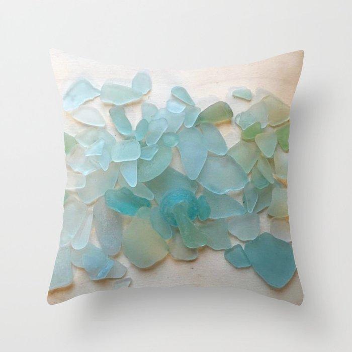 Ocean Hue Sea Glass Throw Pillow