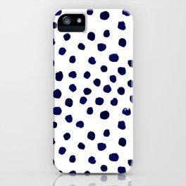 Mini dots painterly brushstrokes boho modern indigo blue and white preppy nautical dorm college art iPhone Case