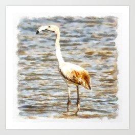 Pretty Flamingo Fledgling Watercolor Art Print