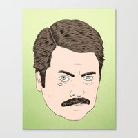 ron swanson Canvas Prints featuring Ron Swanson by Chase Kunz
