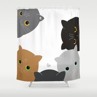 cats Shower Curtains featuring Cats by My Studio