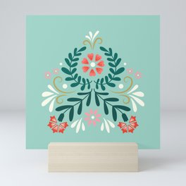 Floral Folk Pattern Mini Art Print