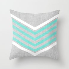 Teal and White Chevron on Silver Grey Wood Throw Pillow