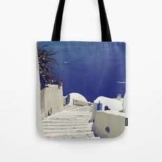 Santorini Stairs II Tote Bag