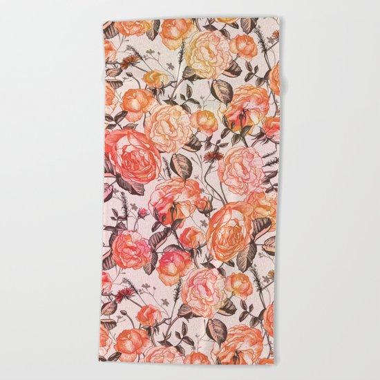 Vintage Floral Watercolor Pattern Beach Towel