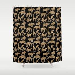 Wild Park Animal Safari Digital Glitter Look Shower Curtain
