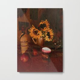 Textured Sunflowers by Candlelight Metal Print