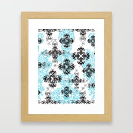 Cross Pattern Illustration, Ink Drawing Framed Art Print