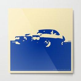 Pontiac Firebird, Blue on Cream Metal Print