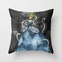 mandie manzano Throw Pillows featuring Bibbidi bobbidi by Mandie Manzano