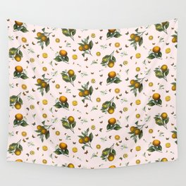 Oranges and Butterflies in Blush Wall Tapestry