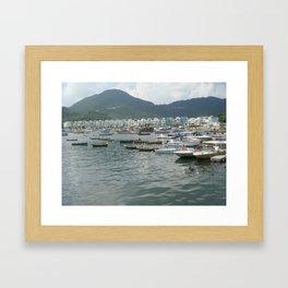 Boats& The Green Framed Art Print