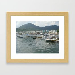 Boats& The Green Framed Art Print