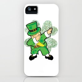 St Patricks Day Dabbing Leprechaun Clover Irish print iPhone Case
