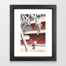 Japanese Art - The Zojo Shrine in Shiba by Kawase Hasui, 1925 Framed Art Print