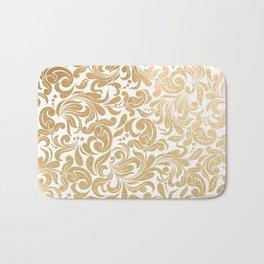 Gold foil swirls damask #13 Bath Mat