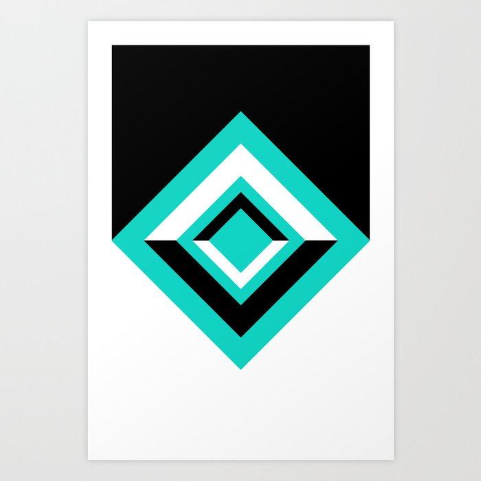 Teal Black and White Diamond Shapes Digital Illustration - Artwork Art Print
