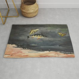 Vintage Winslow Homer Fish & Butterfly Painting (1900) Rug