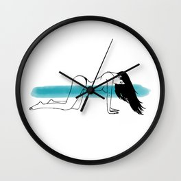 Women with Long black hair on wind in a doggy style sexy pose Wall Clock