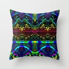 Rainbow Lotus Tangle Throw Pillow