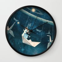 lady Wall Clocks featuring My Favourite Swing Ride by Paula Belle Flores
