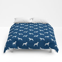 Doberman Pinscher dog pattern navy and white minimal dog breed silhouette dog lover gifts Comforters