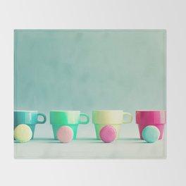 Macarons, macaroons and coffee, pop art Throw Blanket