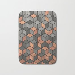 Concrete and Copper Cubes Bath Mat