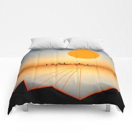 Horizon Sunset Orange Blue Comforters
