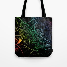 Mansfield, England, City, Map, Rainbow, Map, Art, Print Tote Bag