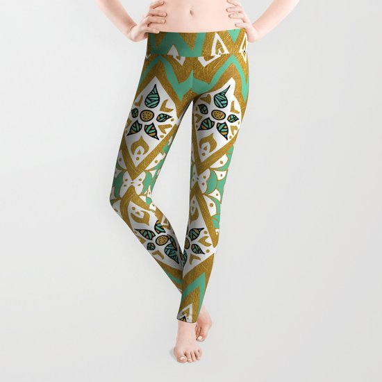 Golden Nature Mandala Leggings