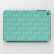 damask pattern torquoise with shadow iPad Case