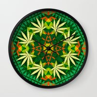 cannabis Wall Clocks featuring Tribal Cannabis by GypsYonic