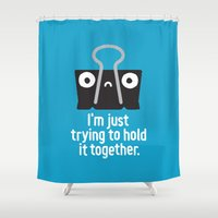 depression Shower Curtains featuring Get a Grip by David Olenick