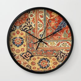 Indian Trellis II // 17th Century Ornate Medallion Red Blue Green Flowers Leaf Colorful Rug Pattern Wall Clock