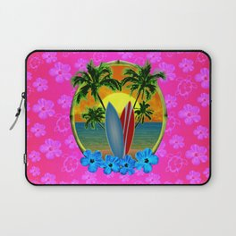 Pink Hibiscus Sunset And Surfboards Laptop Sleeve