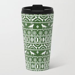 German Shepherd fair isle christmas pattern dog gifts dog breeds pet art holiday green and white Travel Mug