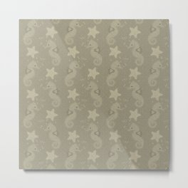 Sepia Seahorses And Starfish Pattern Metal Print